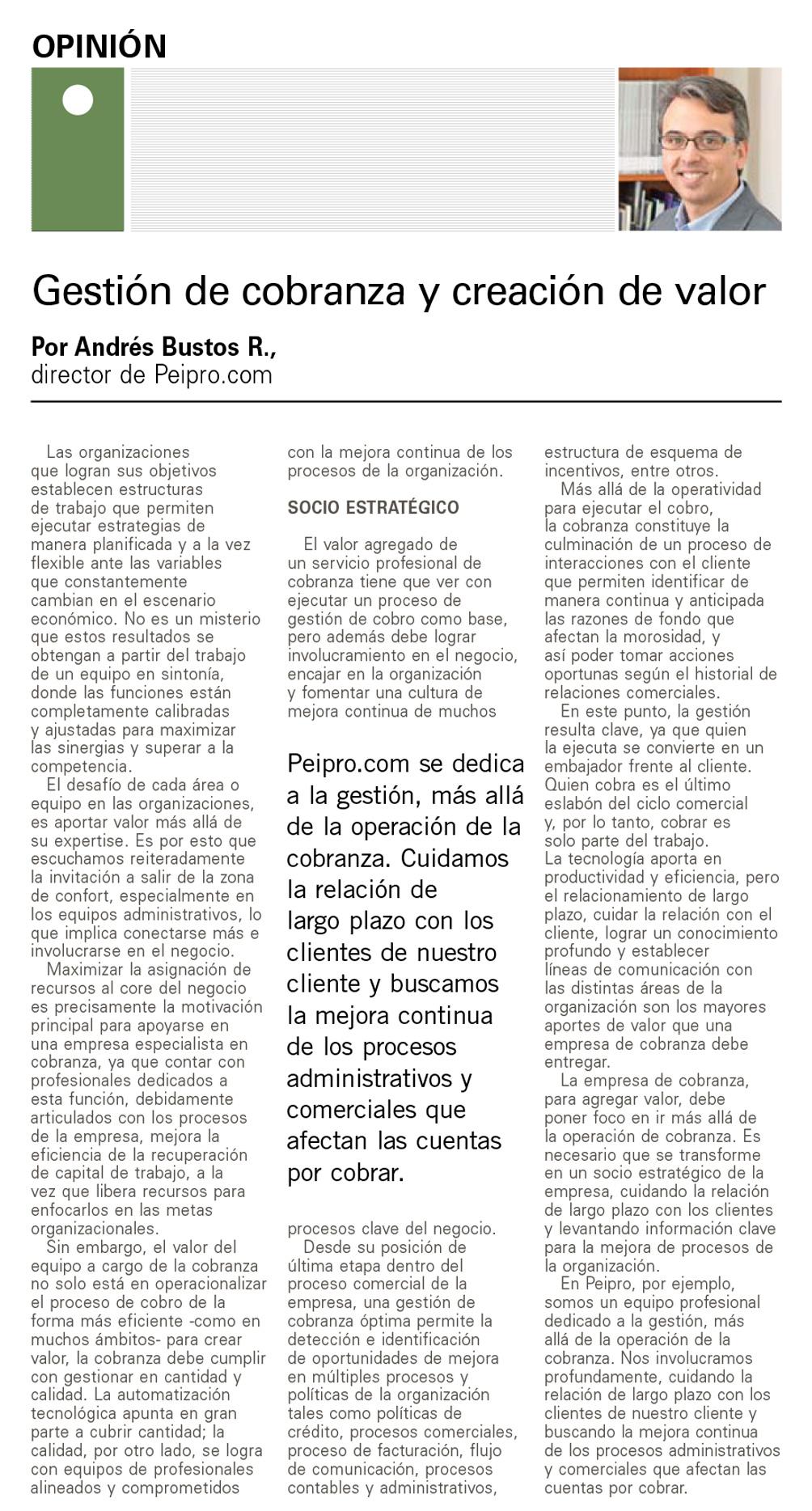 Artículo El Mercurio Andrés Bustos